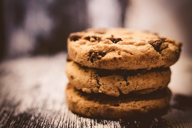 A close up of a piece of cookies